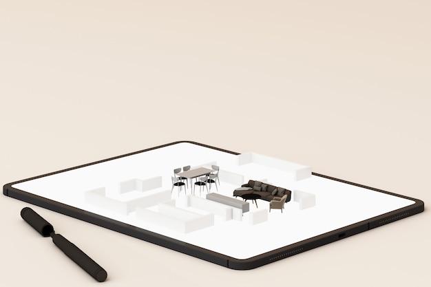 インテリアデザインのコンセプト:画面上のインテリアデザインアプリとタブレットを持ったビジネスマン。 3dレンダリング Premium写真