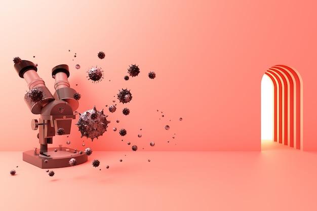 Микроскоп и вирус 3d-рендеринга Premium Фотографии