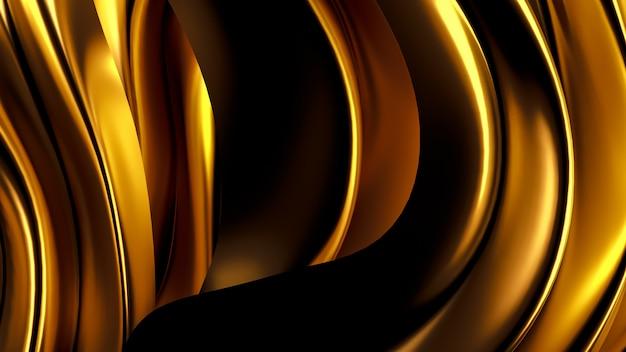 サテンのカーテンと豪華な金色の背景。 3dレンダリング。 Premium写真