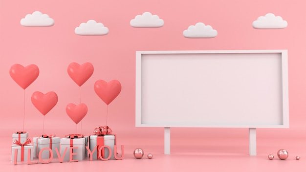 Подарочная коробка сердце плавающей карты фон любовь валентина концепция 3d-рендеринга Premium Фотографии