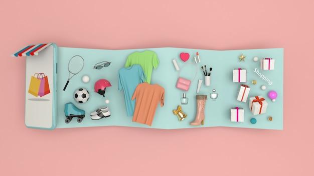 Смартфон для ввода контента в окружении сумок, корзин, 3d-рендеринга Premium Фотографии