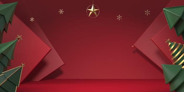 3d рендеринг рождественская елка с красным фоном Premium Фотографии