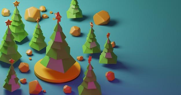 Рождественские елки в лесе на желтом этапе и желтых камнях, низком стиле поли. красочная 3d рендеринг праздник рождество новый год концепция Premium Фотографии