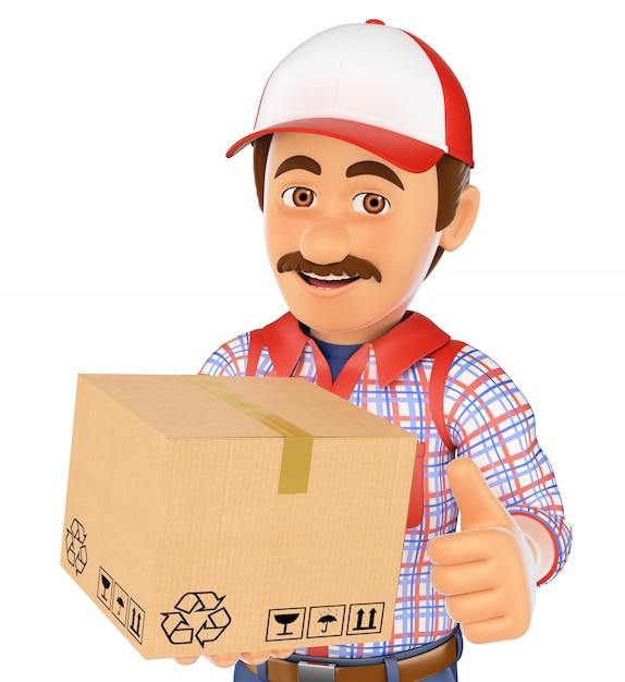 3d доставка человек с коробкой Premium Фотографии