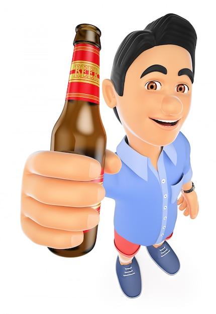 3d молодой человек в шортах с бутылкой пива Premium Фотографии