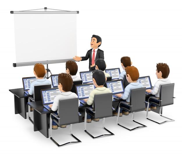 3d учитель читает лекции студентам с ноутбуками Premium Фотографии