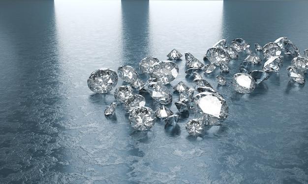Группа диамантов помещенная на голубой предпосылке, иллюстрации 3d. Premium Фотографии
