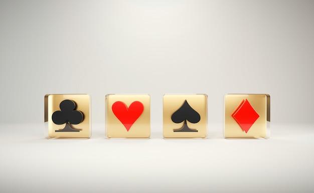 Играя в покер символ карточной игры, с освещением студии настройка 3d визуализации. Premium Фотографии