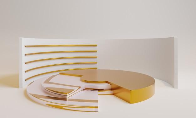 3d минимальный золотой подиум с золотым декором Premium Фотографии