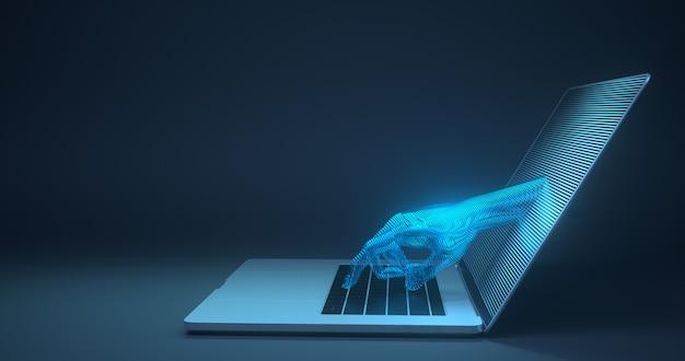 Абстрактная рука касаясь цифровому устройству. 3d-рендеринг, Premium Фотографии