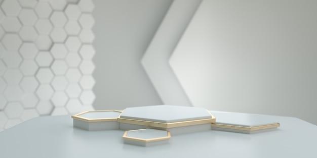 ブランディング、アイデンティティ、パッケージングのプレゼンテーション用のモダンな白い背景を持つ白と金の六角形の台座。 3dレンダリング。 Premium写真