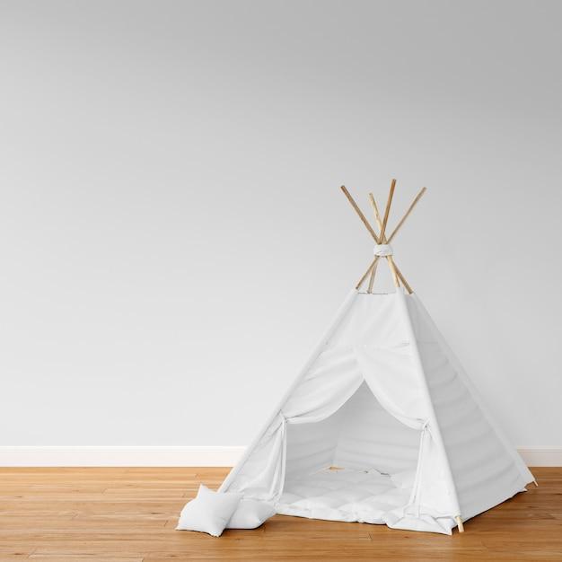 プレイテントを備えた子供部屋の3dリアルなレンダリング 無料写真