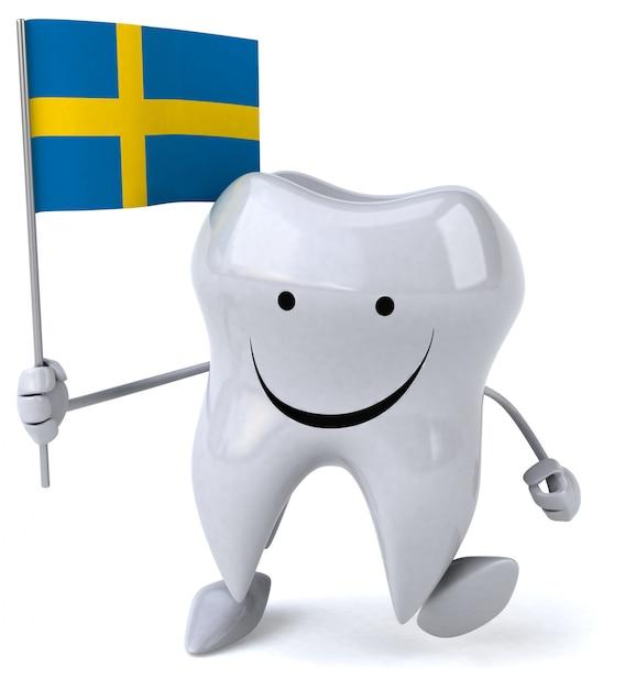 Забавный зуб - 3d персонаж Premium Фотографии