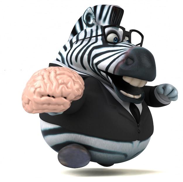 Веселая зебра - 3d иллюстрации Premium Фотографии