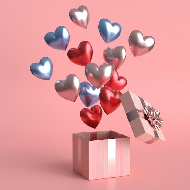 多くのハート形の風船.3dレンダリングと幸せなバレンタインデーのコンセプト Premium写真