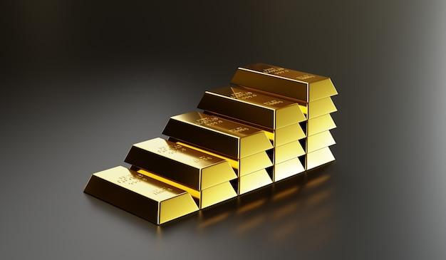 金の延べ棒は、投資、投資、貯蓄、経済的成功とともに、金の価値を伝えるために、より高い層に配置されます。3dレンダリング Premium写真