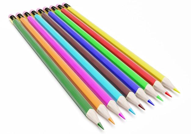 3d цветные карандаши, изолированные на белом Premium Фотографии