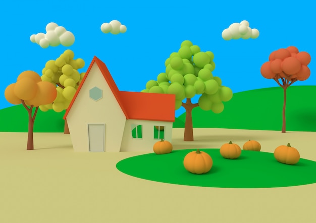Дом в поле тыкв. 3d-рендеринга. Premium Фотографии