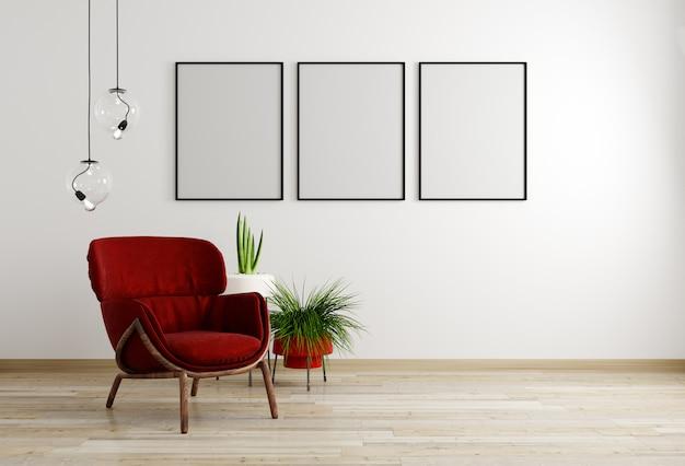 Интерьер гостиной с красным креслом и цветком, белая стена макет фона, 3d-рендеринга Premium Фотографии