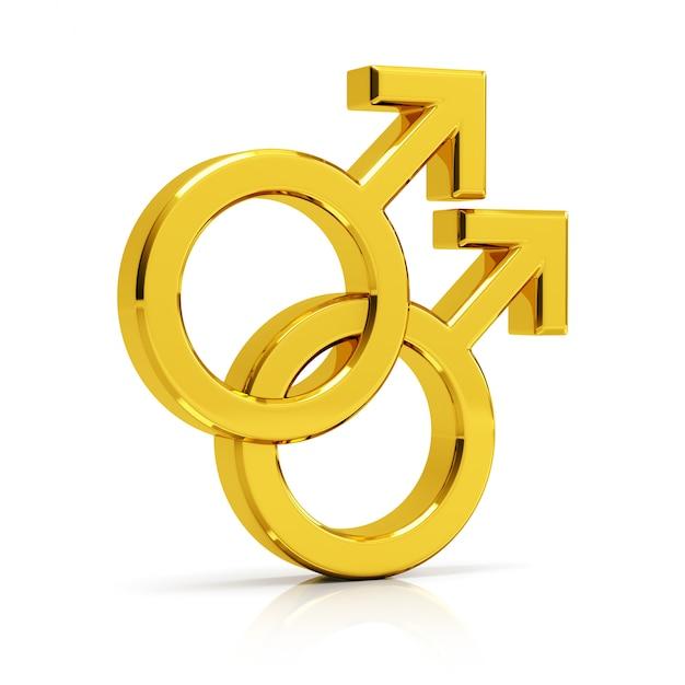 Гей символ 3d визуализации. золотой гей-символ, изолированных на белом фоне. Premium Фотографии