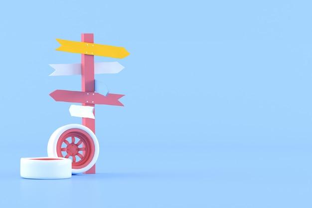 青の背景に道標と車のホイールの最小限の概念的なアイデア。 3dレンダリング。 Premium写真
