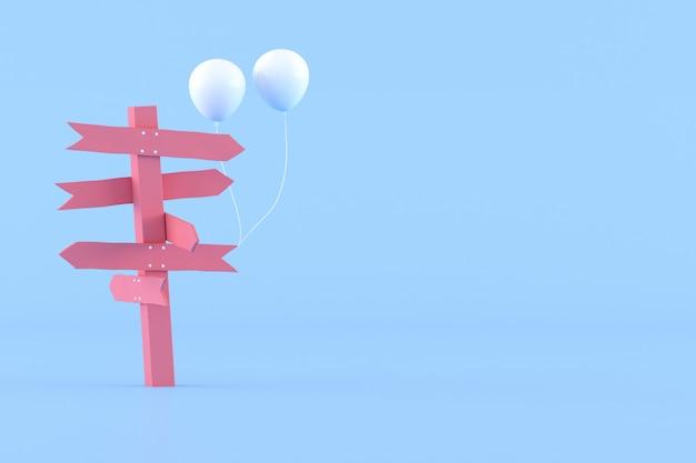 ピンクの道標と青い背景に白い風船の最小限の概念的なアイデア。 3dレンダリング。 Premium写真
