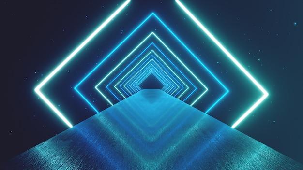 Абстрактное движение геометрический фон, светящиеся неоновые квадраты, создающие вращающийся туннель, синий розовый фиолетовый спектр, флуоресцентный ультрафиолетовый свет, современное красочное освещение, 3d иллюстрации Premium Фотографии