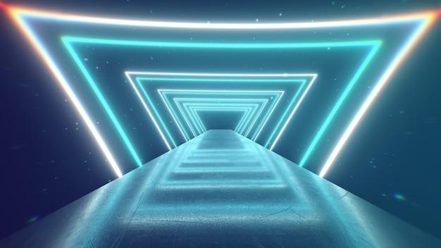 Пролетая сквозь светящиеся вращающиеся неоновые треугольники, создающие туннель, синий красный розовый фиолетовый спектр, флуоресцентный ультрафиолетовый свет, современное красочное освещение, 3d иллюстрации Premium Фотографии