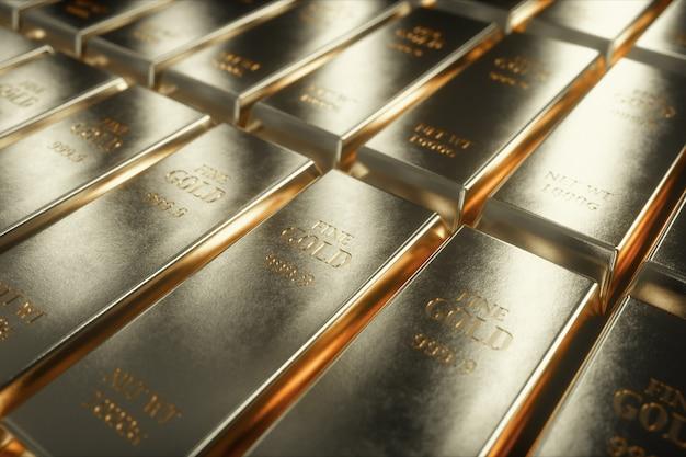 Иллюстрация 3d слитков белого золота Premium Фотографии