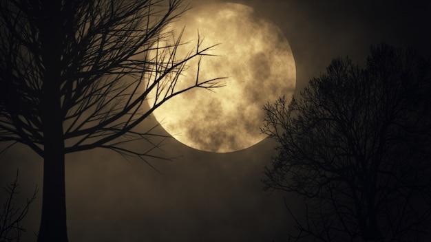 Жуткий лунный фон. силуэт дерева большая полная луна крупным планом промежуток времени. ночное небо 3d иллюстрация Premium Фотографии