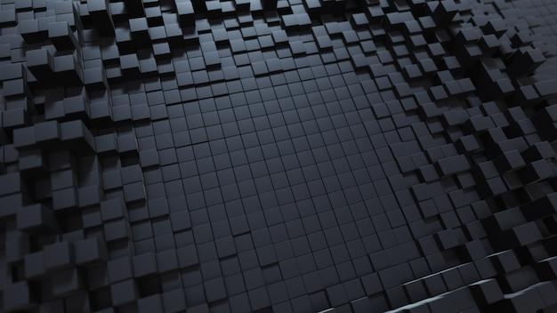 Абстрактный фон волны с черной движущейся кубической поверхности. геометрическая концепция со случайными коробками или столбцами. шаблон оформления движения. 3d иллюстрации технология композиции. радиальная пульсация. Premium Фотографии
