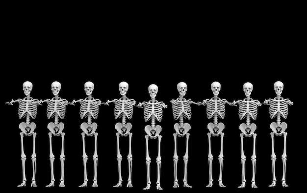 3d-рендеринг. строка команды косточек черепа призрака человеческая скелетная на черноте. ужас хэллоуин. Premium Фотографии