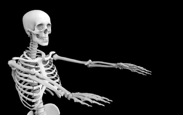 3d-рендеринг. призрак человеческий череп скелет кости на черном. ужас хэллоуин. Premium Фотографии