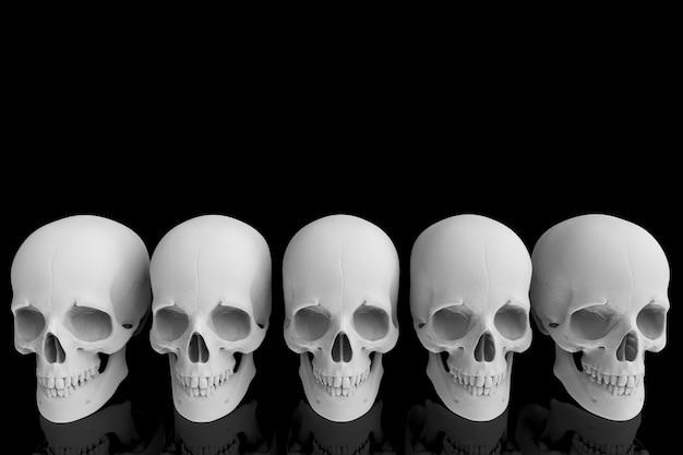 3d-рендеринг. человеческая голова череп кости строка с отражением на черном. Premium Фотографии