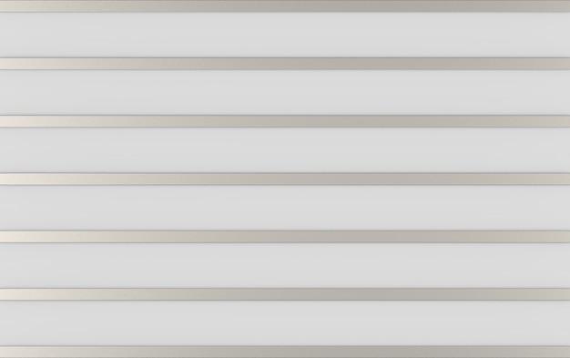 3dレンダリング。灰色の壁の背景に抽象的な長い金属銀バー行。 Premium写真