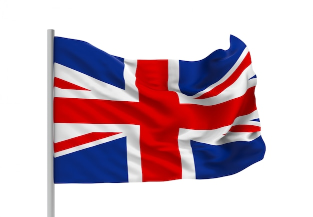 3dレンダリング。クリッピングパスと風が強いイギリス国旗 Premium写真
