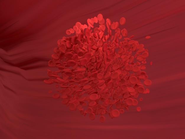 Красная кровяная клетка течет в кровеносном сосуде тела. наука графика для образования школы. 3d-рендеринг. Premium Фотографии