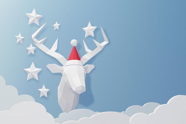 3dレンダリングのデザイン、紙アートと鹿の頭のクラフトスタイルは、サンタの帽子を身に着けている。 Premium写真