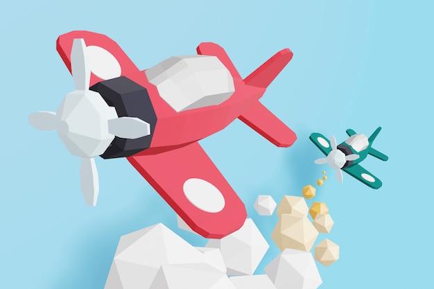 3d-дизайн рендеринга, бумажный стиль стиля боя воздушного бойца-истребителя. Premium Фотографии