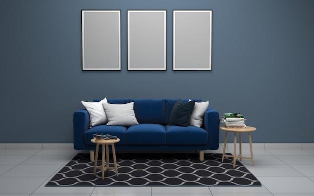 3d-рендеринг интерьера современной гостиной с диваном - диван и стол Premium Фотографии