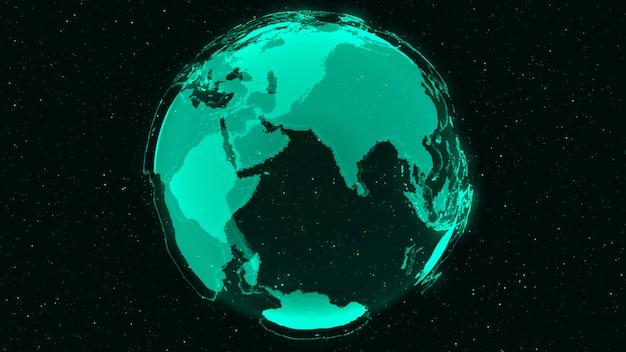 グローバルネットワークの3dデジタルアースコンセプト Premium写真