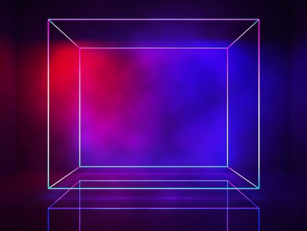 ネオンライン、長方形のライト、紫外線の概念、抽象的な消耗的な背景、3dレンダリング Premium写真