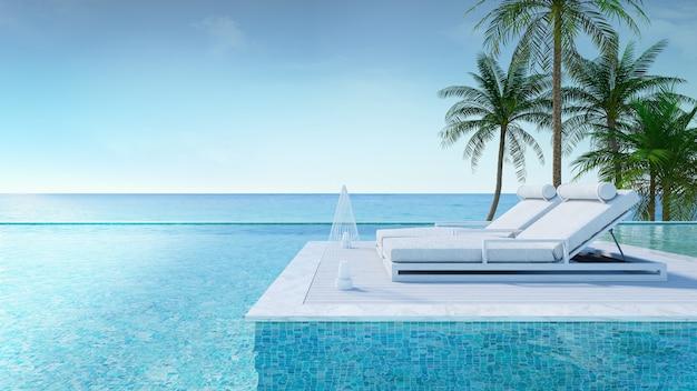 Отдых летом, пляжный салон, терраса для загорания и частный бассейн с пальмами возле пляжа и панорамным видом на море в роскошном доме / 3d-рендеринг Premium Фотографии