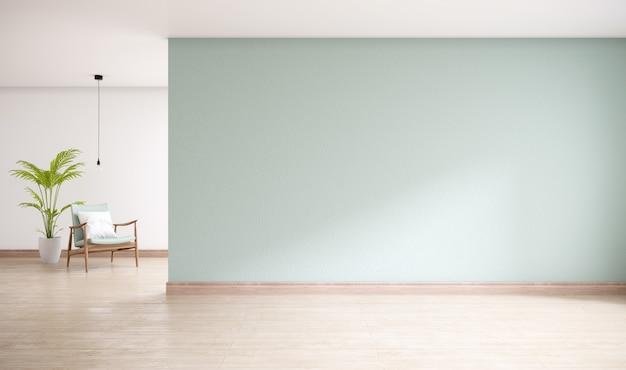Зеленая стена с деревянным полом, минимальный интерьер гостиной, 3d-рендеринг Premium Фотографии