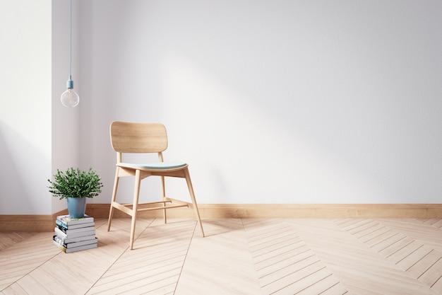 Деревянный стул на современном интерьере живущей комнаты, 3d представляет Premium Фотографии