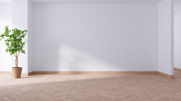 Просторная современная и минималистичная гостиная, пустая комната, растение на деревянном полу, 3d-рендеринг Premium Фотографии