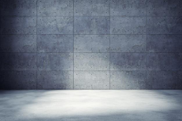 Комната современного лофта внутренняя пустая, бетонная стена и настил, предпосылка и текстура, 3d представляют Premium Фотографии