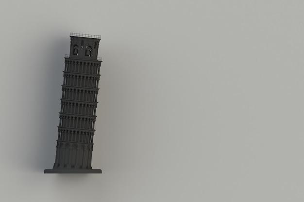 Черная пизанская башня на черном фоне, 3d-рендеринг Premium Фотографии