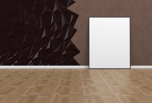 Пустое изображение в коричневой комнате, 3d-рендеринг Premium Фотографии