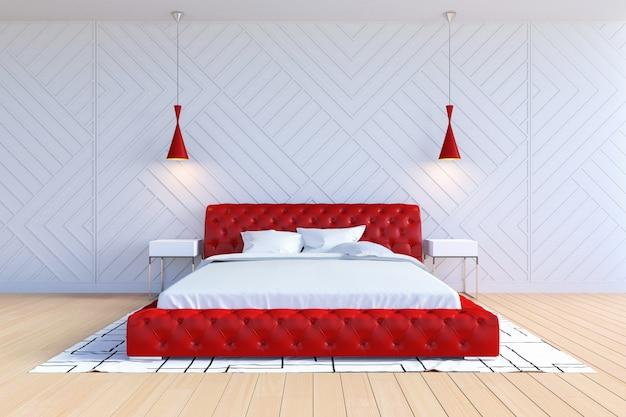 白と赤の色でモダンな現代的な寝室のインテリア、3dレンダリング Premium写真